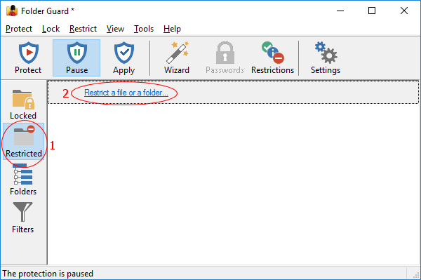 Folder Guard list of the restricted files and folders