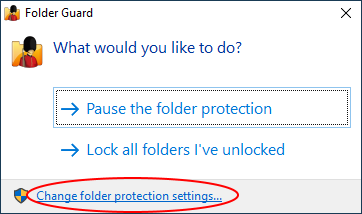 Change folder protection settings of Folder Guard