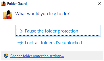 Pause protection of the secret folder