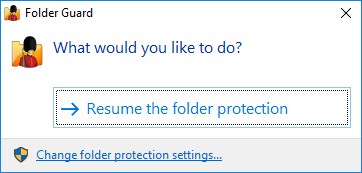 Resume protection of the secret folder