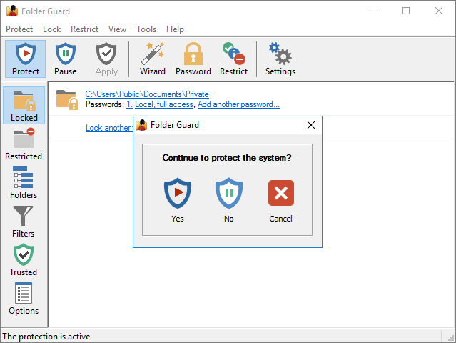 Enabling protection of the secret folder with Folder Guard