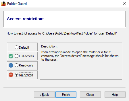 Restricting user access to the private folder