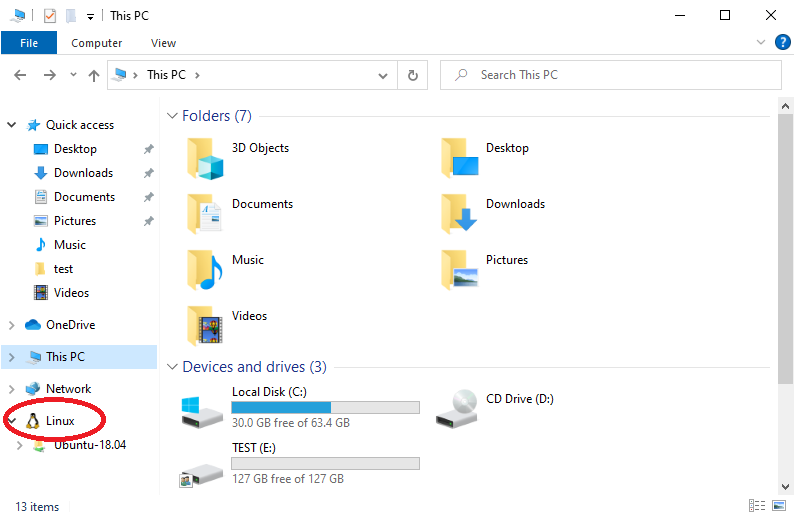 Windows Subsystem for Linux (WSL) can be browsed with File Explorer