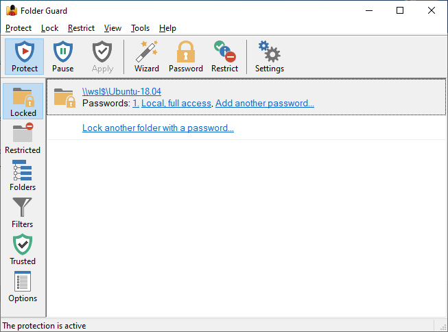 Password protected Linux folder is now listed in Folder Guard application