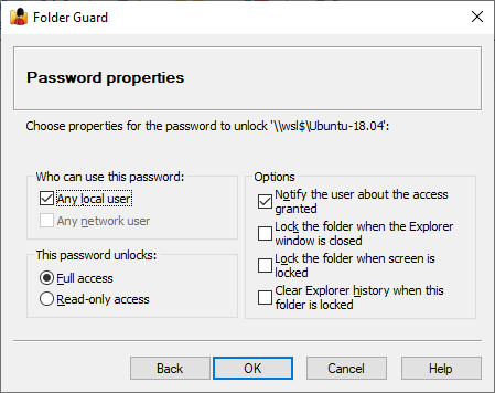 Properties for the password to protect a Linux folder