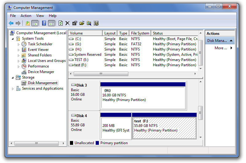 Windows Disk Management console