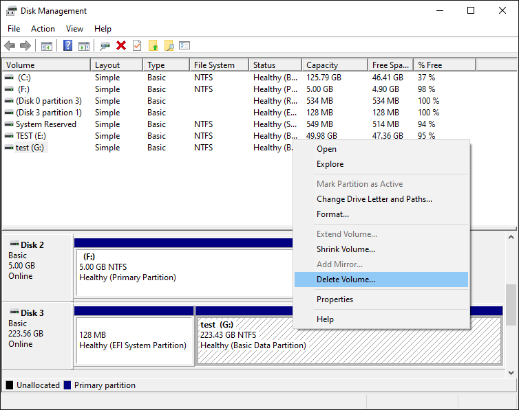 Context menu for the regular disk partitions