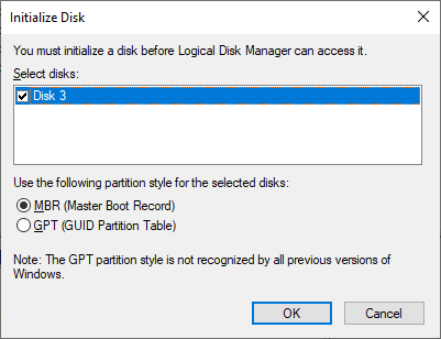 Initializing the clean disk with the Disk Management tool