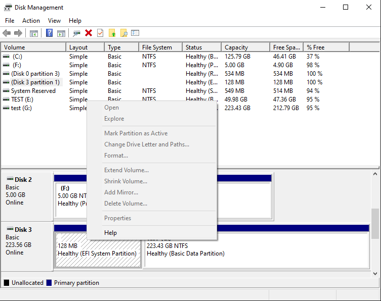 Context menu for the EFI disk partition is disabled