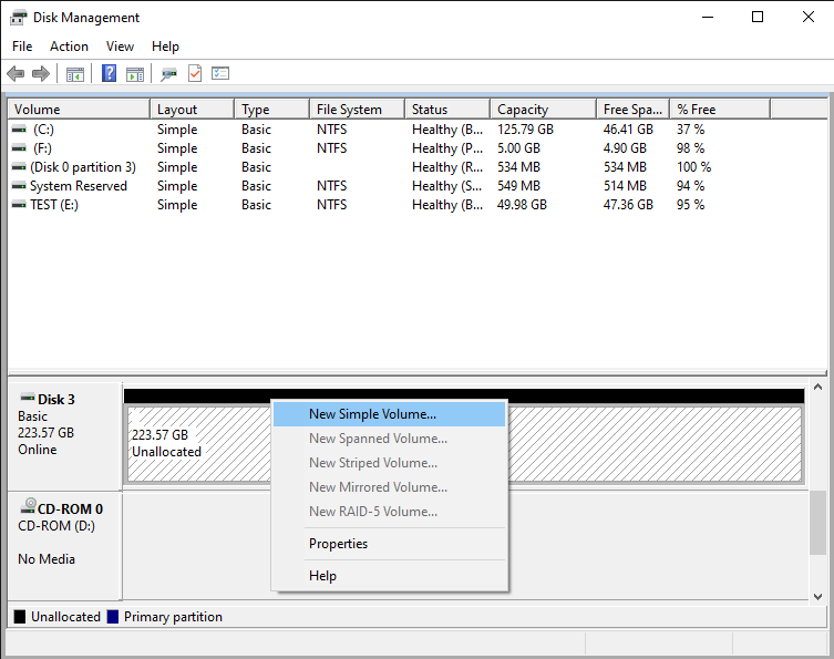 Working with the clean disk with the Disk Management tool