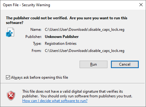 Windows warning about reg file