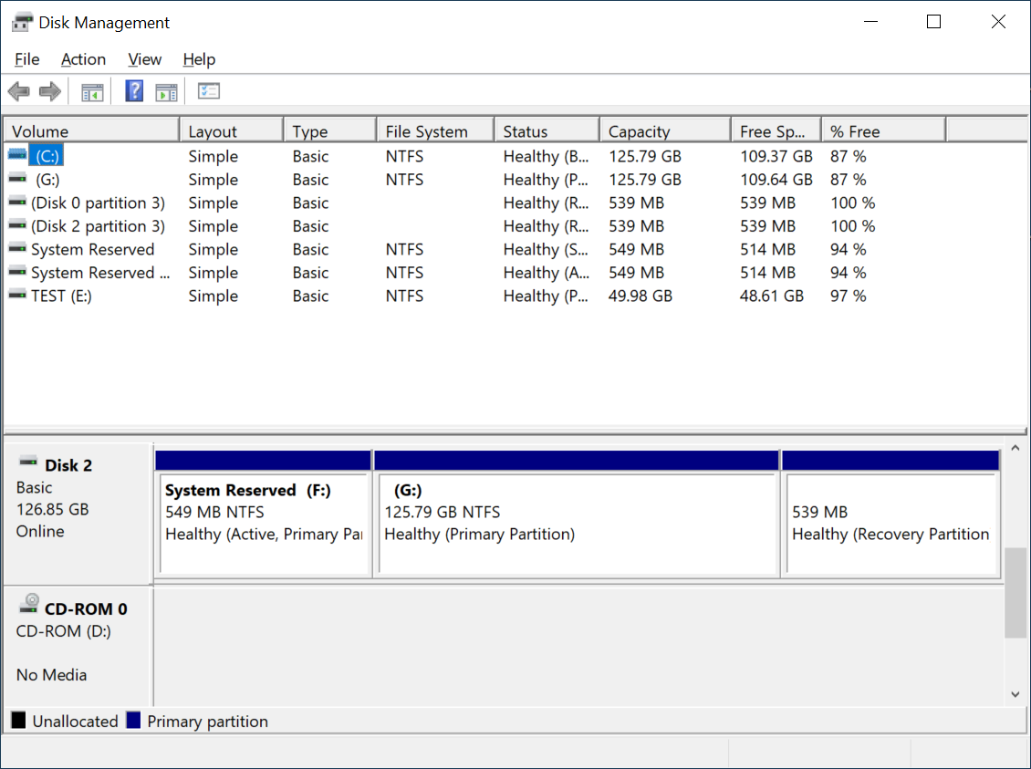 Disk Management of Windows 10 lists all available storage devices