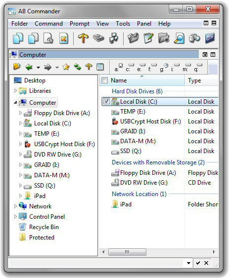 The default display of the drive names used by AB Commander and Windows Explorer