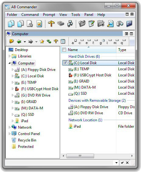 The drive letters are shown before the drive names