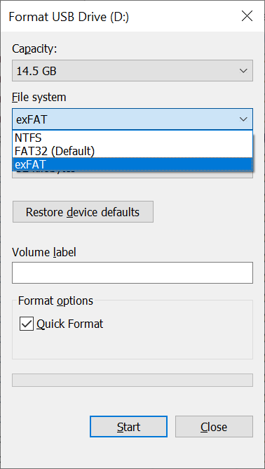 Formatting a FAT32 drive with a different file system