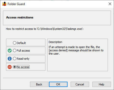 Restrict access to Taskmgr.exe