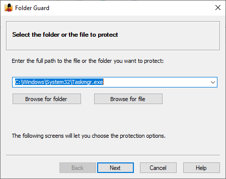 Select Taskmgr.exe as the file to restrict access to