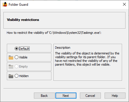 Select default visibility for Taskmgr.exe