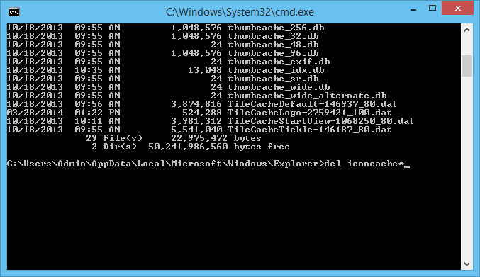 Deleting the icon cache files in Windows 8 using the command prompt window