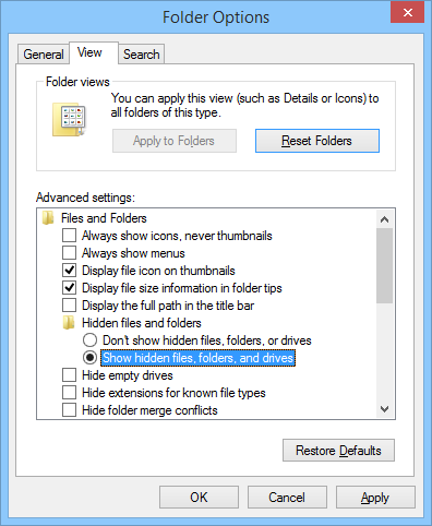 Enabling the Show hidden files, folders, and drives option