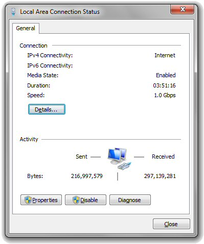 Local area connection status window