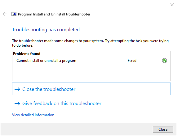 Microsoft MSI troubleshooting uninstall problem fixed