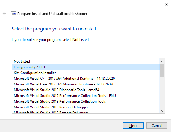 Microsoft MSI troubleshooting program