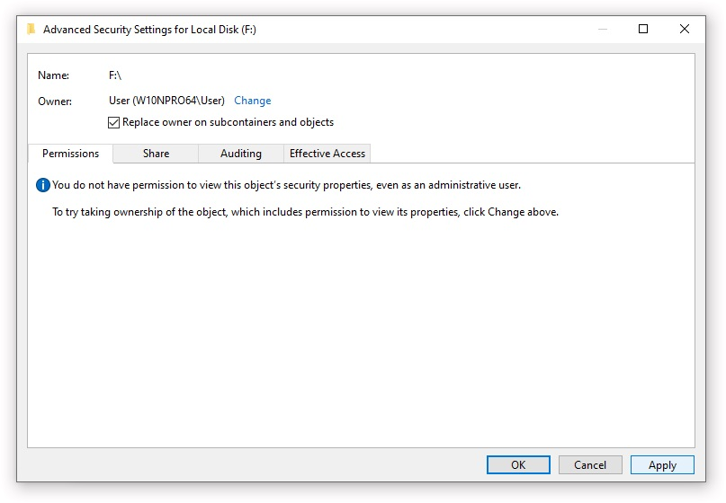 Changing the owner of an NTFS folder