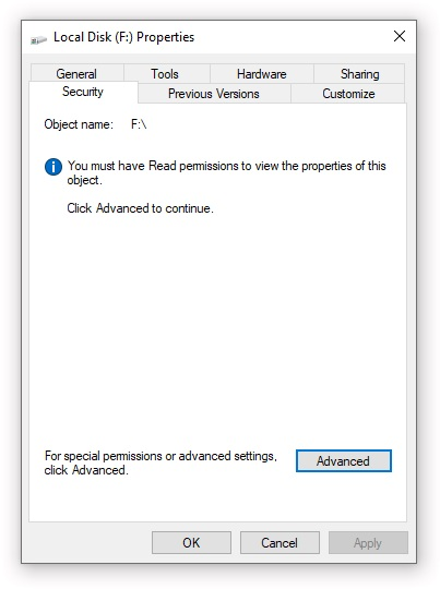 Security settings restricted due to NTFS permissions