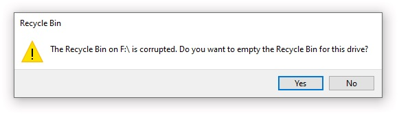 recycle Bin is corrupted after changing the owner of an NTFS root folder