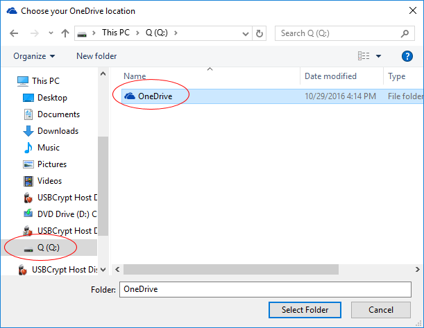 Select the  new location for the OneDrive folder