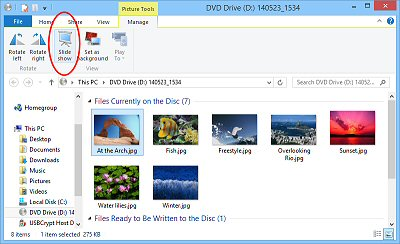 Use Windows Explorer to start a slide show.
