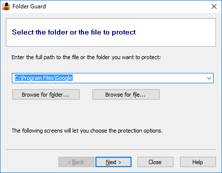 Folder Guard wizard guides you through the configuration process