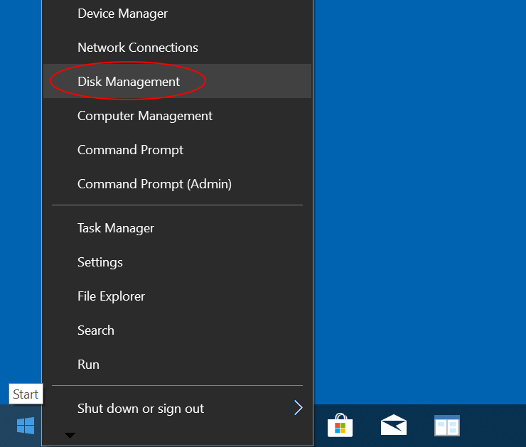 Right-click Start menu and choose Disk Management