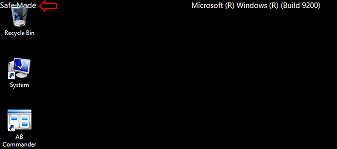 A part of the Windows 8 desktop in the safe mode