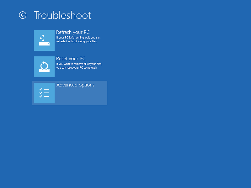 The Troubleshoot options of Windows 8