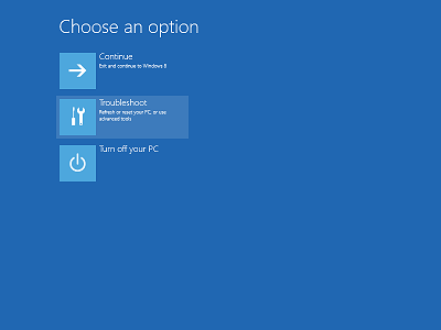 The Restart options of Windows 8