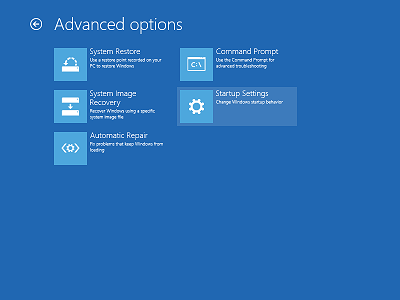 The Advanced startup options of Windows 8