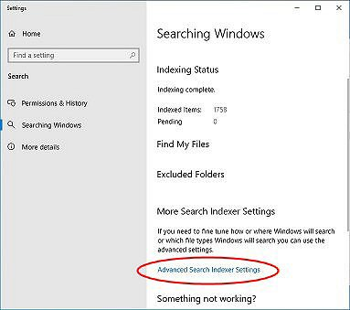 Opening the Advanced Search Indexer Settings