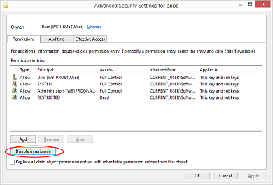 Disabling inheritance of the permissions for the registry key.