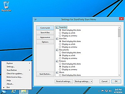 StartFinity Pro for Windows 8 is customizable