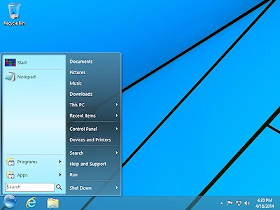 StartFinity Start Menu for Windows 8 displays the frequently used programs on the left.