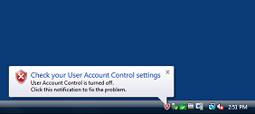 A security alert displayed by Windows Vista when the quiet mode of UAC is enabled