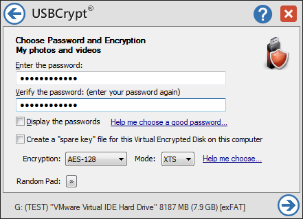 USBCrypt encryption software for Windows 10, 8, 7.